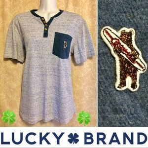 Lucky Brand Surf Bear Pocket Henley🍀🐻
